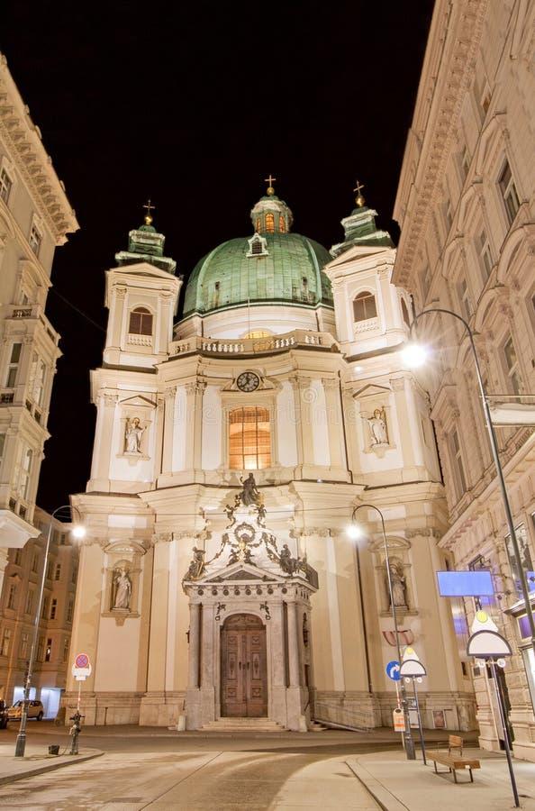 Green Dome et façade de Peterskirche, St Peters Church, Vienne, Autriche photos libres de droits