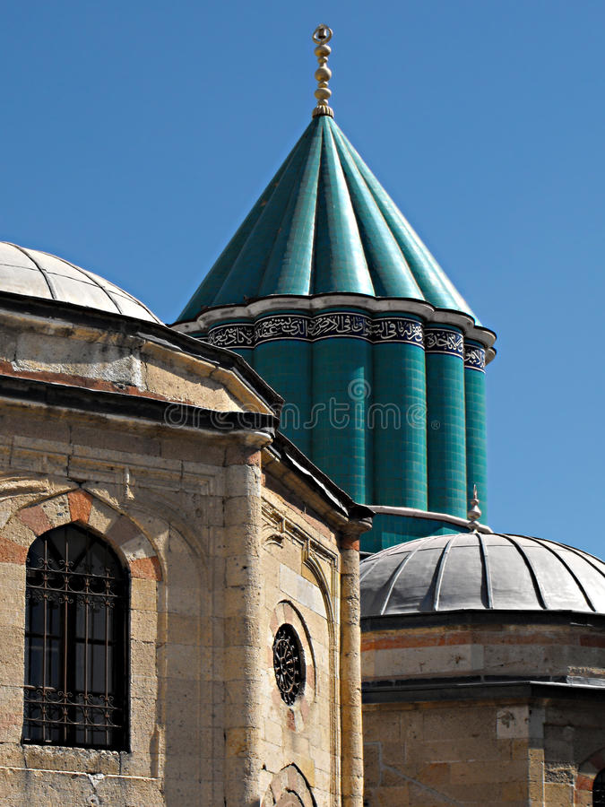 Green Dome, Mevlana Mausoleum, Konya, Turkey. The Green Dome of the Mevlana Museum (formerly Mevlana Mausoleum) in Konya, Turkey. Mevlana, also known as Rumi royalty free stock photos