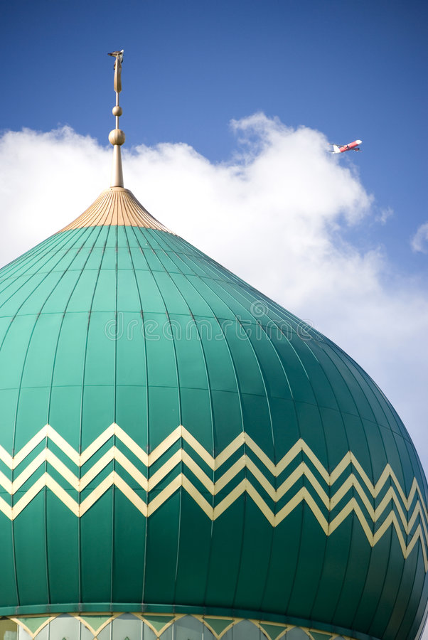 Green dome on mosque building stock photos