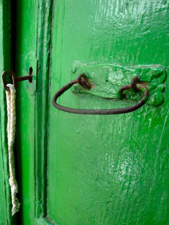 A green door behind green plants stock images