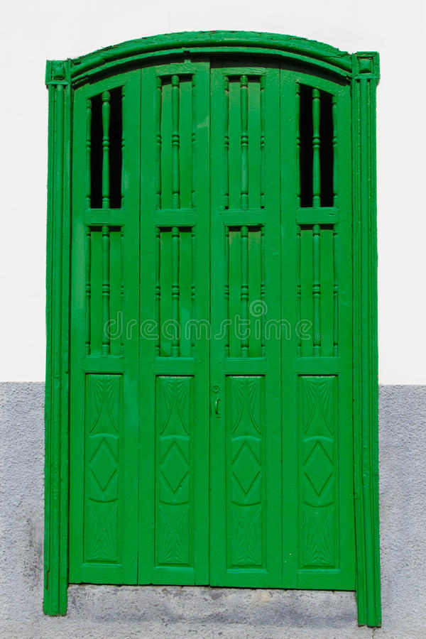 Green Door-Spanish Architecture-Canary Isl.,Spain royalty free stock photo