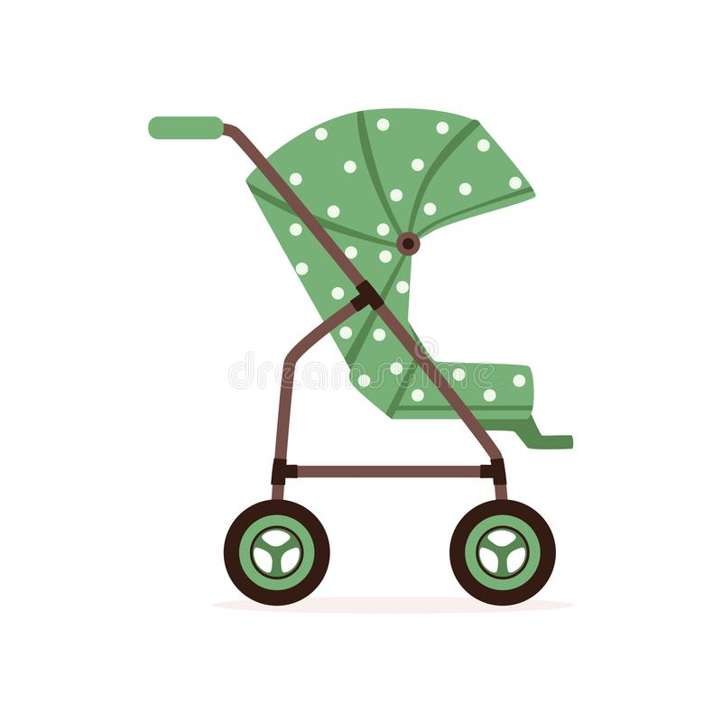 Green dotted baby carriage, safe handle transportation of toddler vector Illustration. On a white backgroun stock illustration