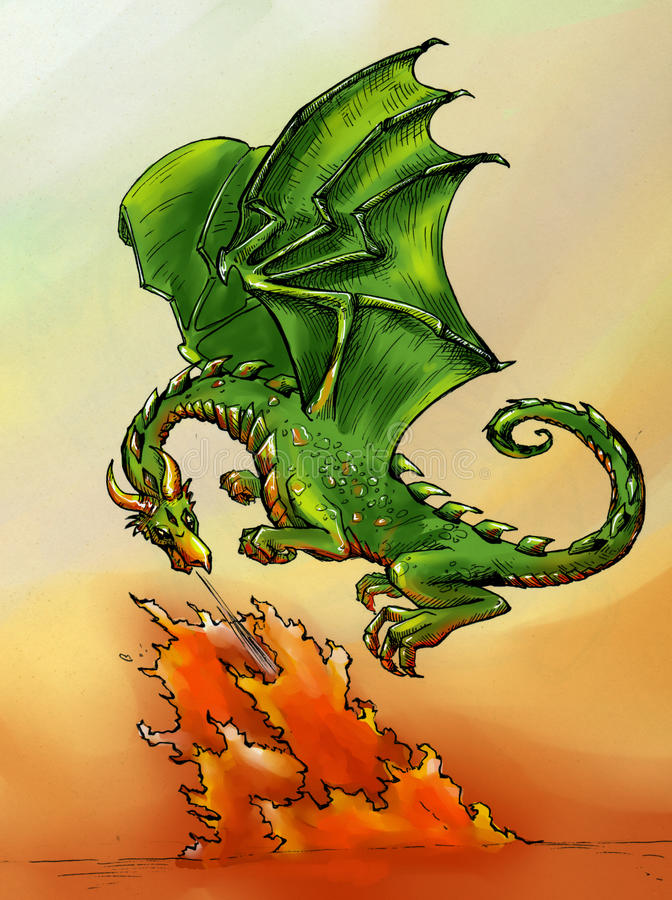 Green dragon breathing fire stock photo