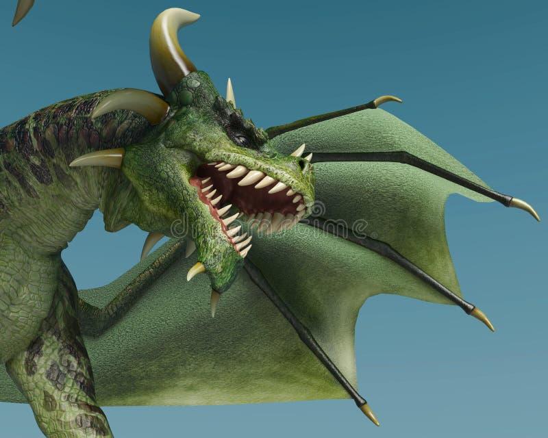 Green dragon close up vector illustration