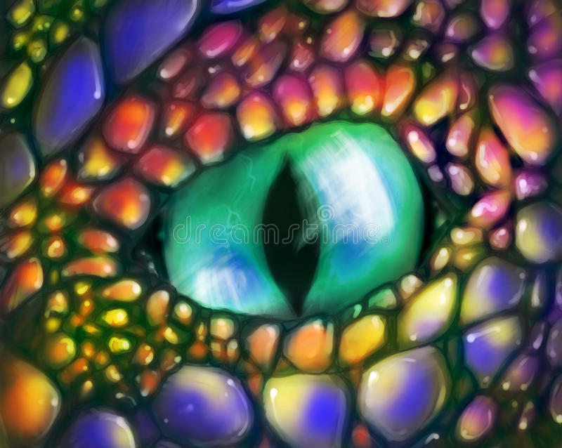 Green dragon eye. Hand drawn digital painting of a green eye belonging to a brightly colored dragon with blue, red, yellow and purple scales on its skin