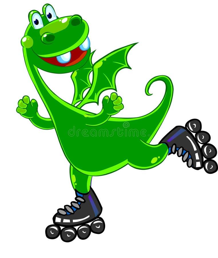Green dragon roller-skating royalty free illustration