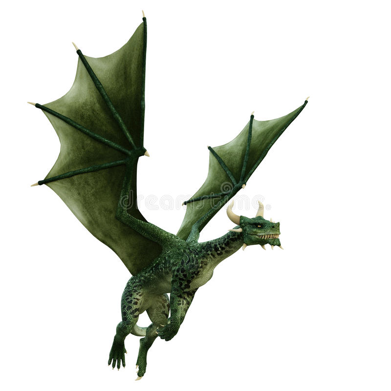 Green dragon is simply flying stock illustration