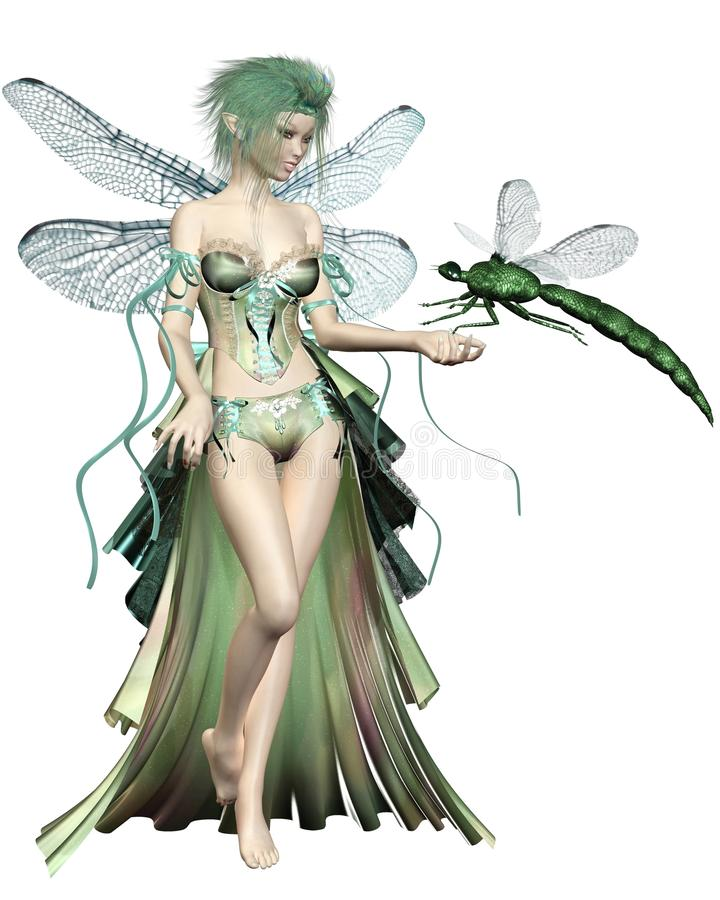 Green Dragonfly Fairy. Fairy with green hair and dress and dragonfly wings with a green dragonfly landing on her hand, 3d digitally rendered illustration stock illustration