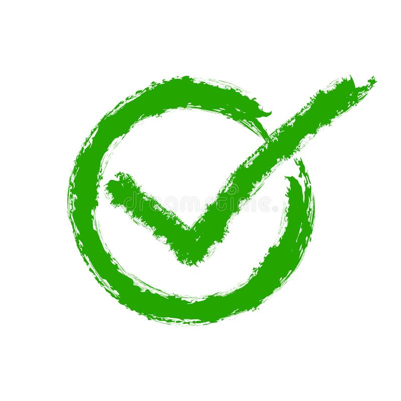 Green Drawing Of The Check Mark Vector Illustration Stock