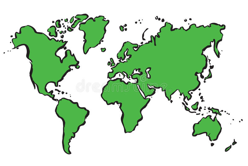 Green drawing map of The World. vector illustration