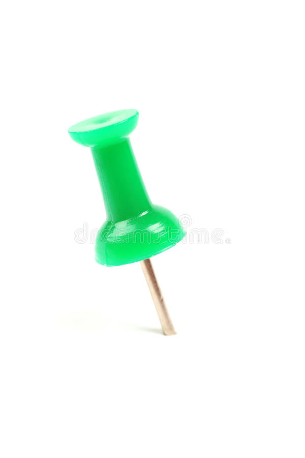 Green push pin isolated on white background thumbtack pushpin tack board drawing post paper notice office note metal color pad royalty free stock photo