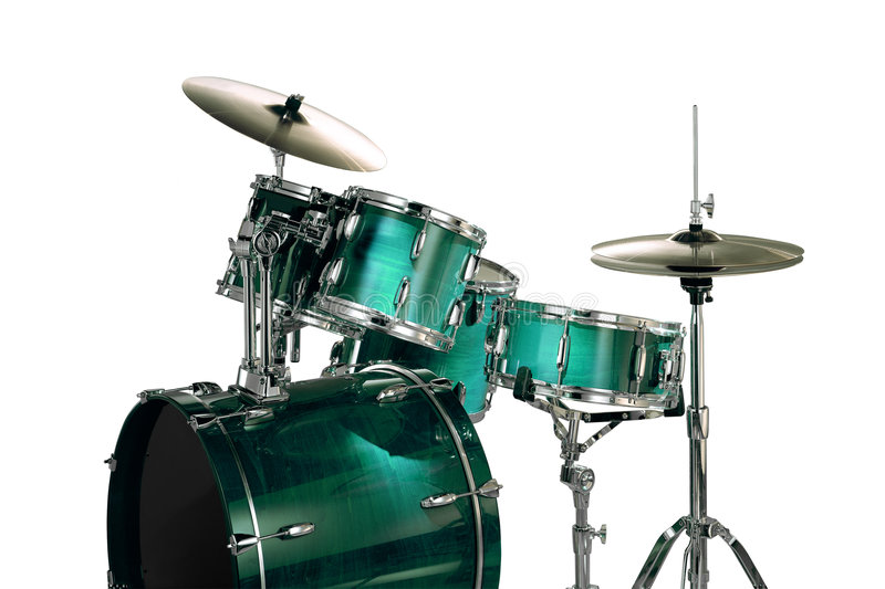 Green drums. Isolated over white with clipping path stock images