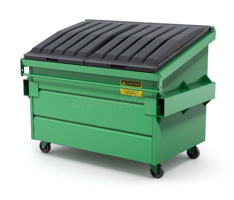 Green Dumpster - 3D illustration royalty free illustration