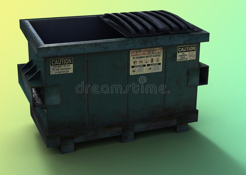 Dirty Green dumpster royalty free stock photos