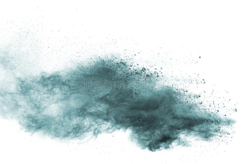 Green dust particles explosion on white background royalty free stock images