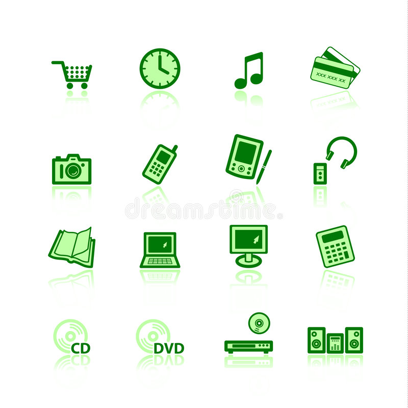 Download Green e-commerce icons stock vector. Image of laptop, music - 2039341