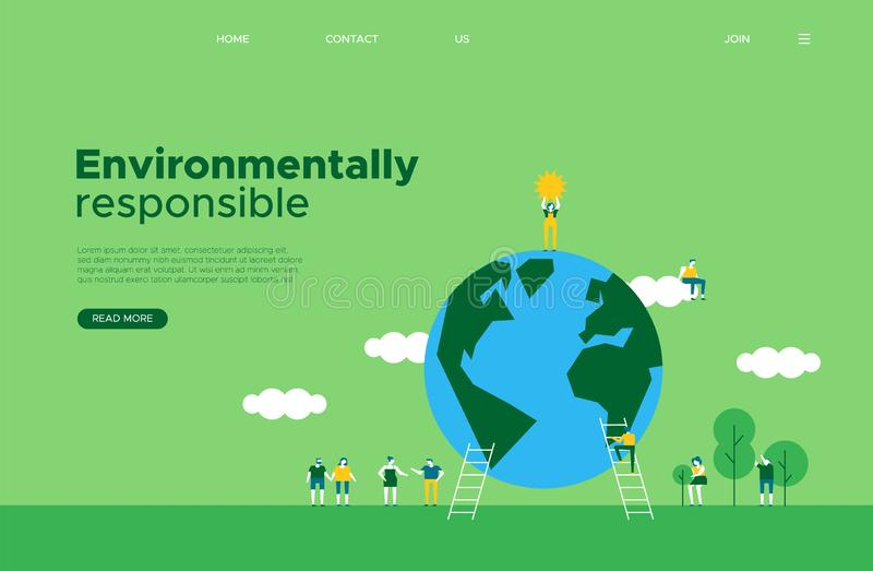 Green earth day social web landing page template. International Earth Day online web landing page template. Green planet and tiny people helping for social media royalty free illustration
