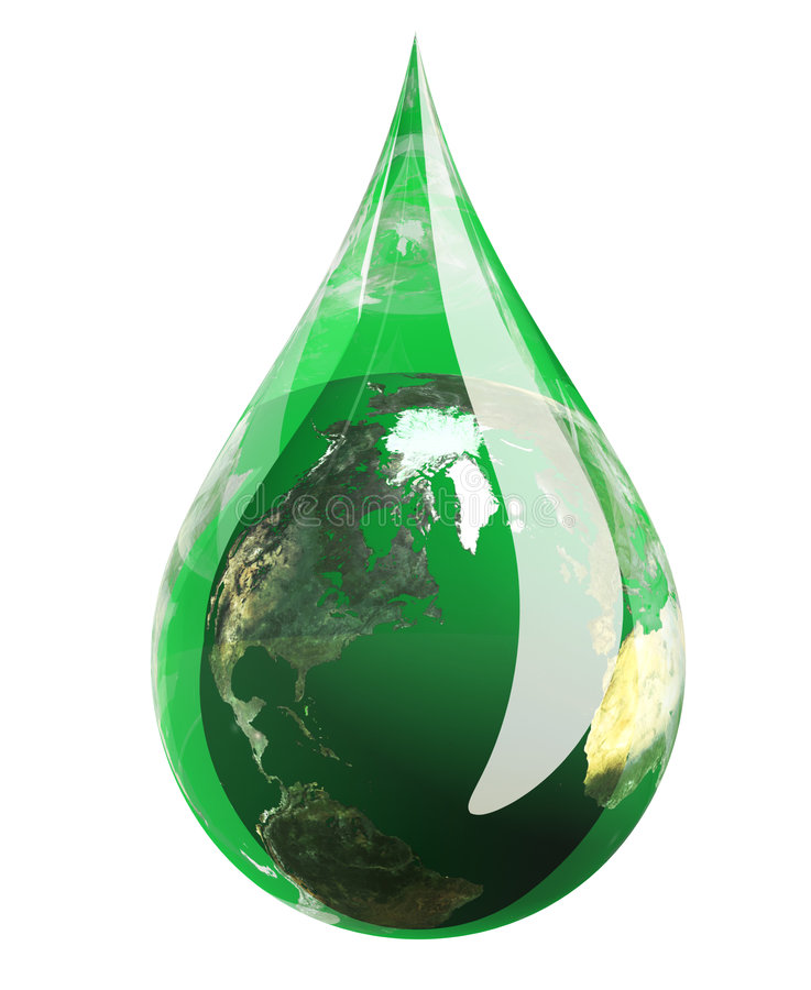 Green Earth Droplet Royalty Free Stock Photography
