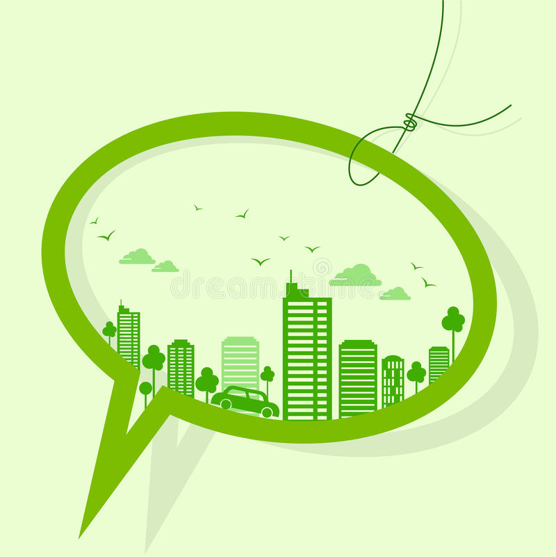 Green earth- ecology concept with bubble vector illustration