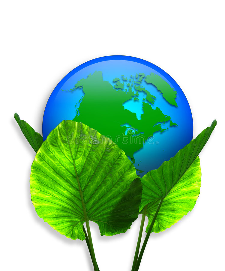 Green Earth Ecology graphic 3D. Image and Illustration composition promoting recycling for Earth day Background or Ecology conservation icon royalty free illustration