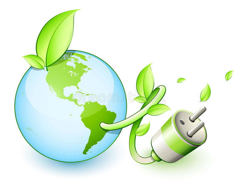 Green Earth Electric Plug. Green planet and energy conservation concept. Electric plug growing out of the earth