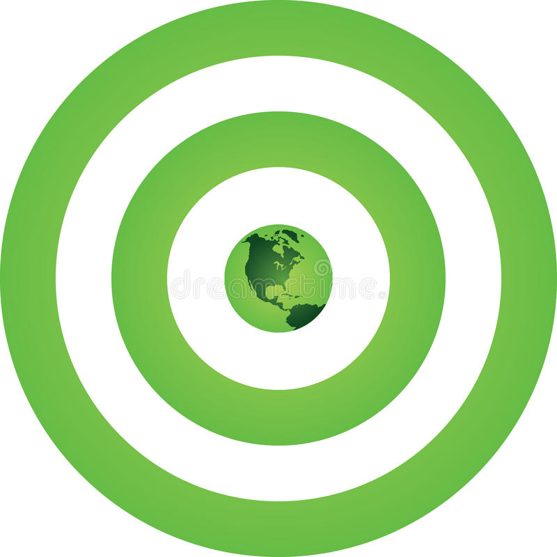 Green Earth Green Target. A Green Earth is positioned at the center of Green Target royalty free illustration