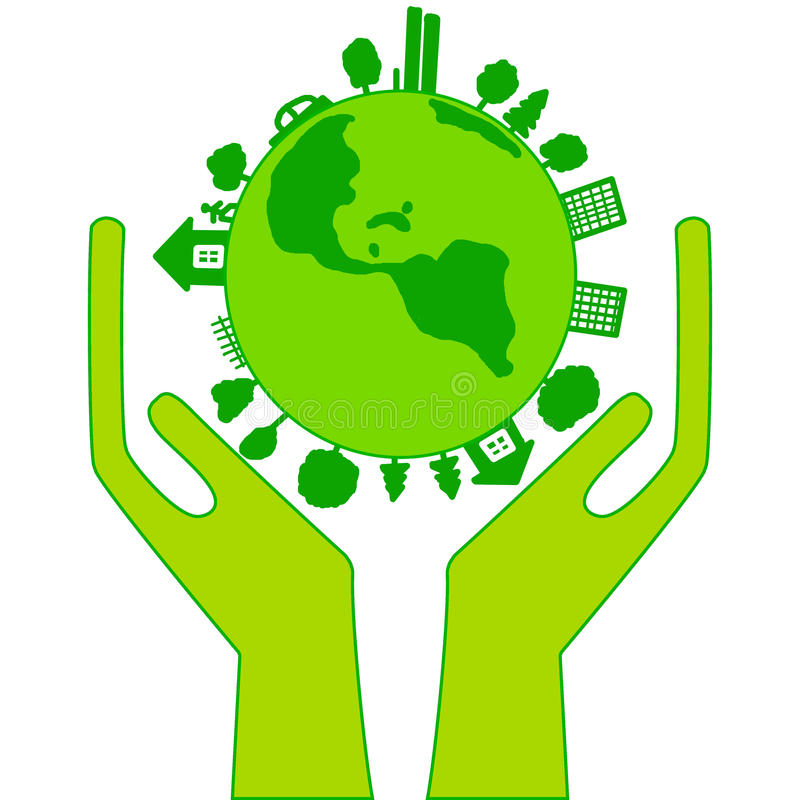 Green earth in hands on a white background. Illustration a raster stock illustration