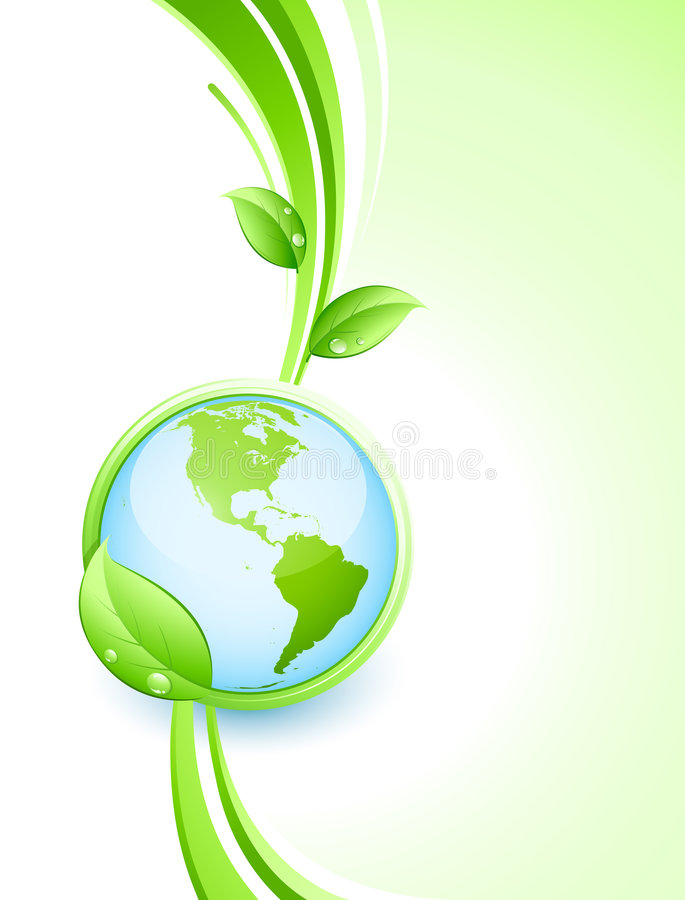 Green earth and leaves stock illustration