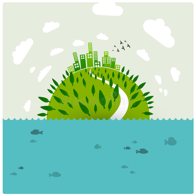 Green earth in the ocean