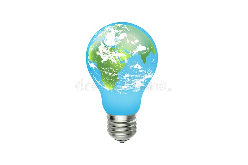 Green earth with white clouds and blue sky in light bulb. stock images