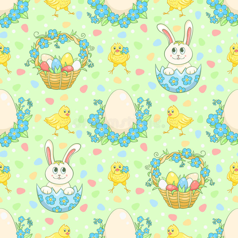 Green Easter background with rabbit stock illustration