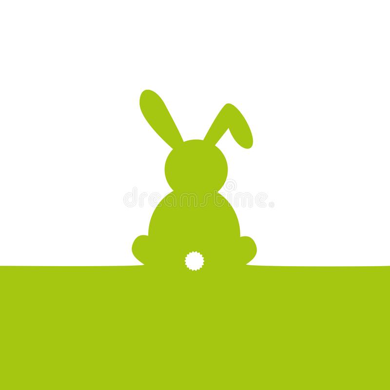 Green easter bunny isolated on white background vector illustration