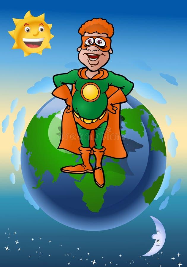 Green echo super hero. Illustration of a green echo super hero defending the earth vector illustration