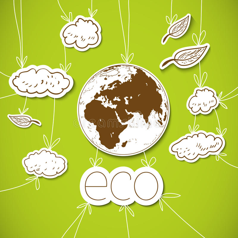 Green Eco Background With Earth Royalty Free Stock Photo