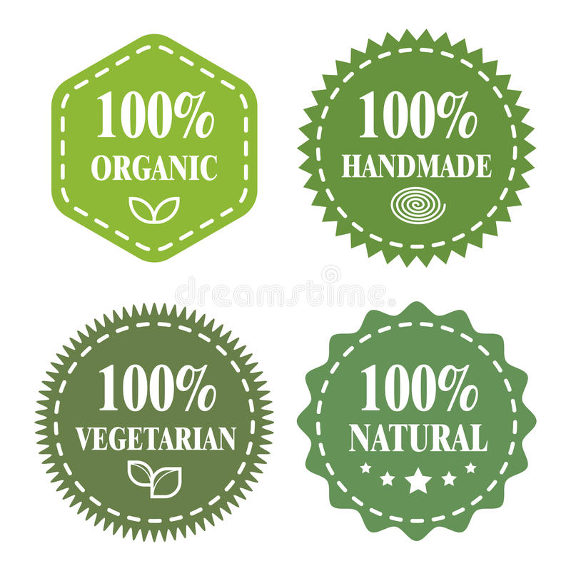 Organic Handmade Vegetarian Natural Stock Vector