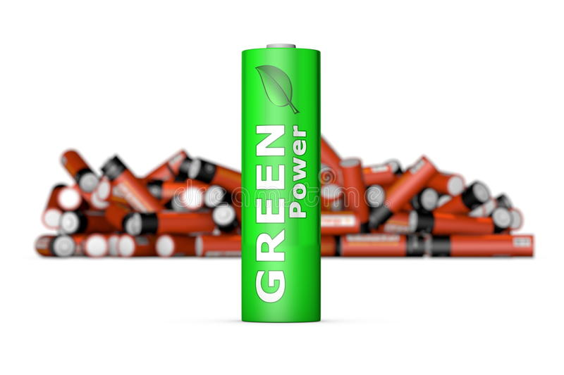 Download Green Eco Battery in Front stock illustration. Image of energy - 22238728