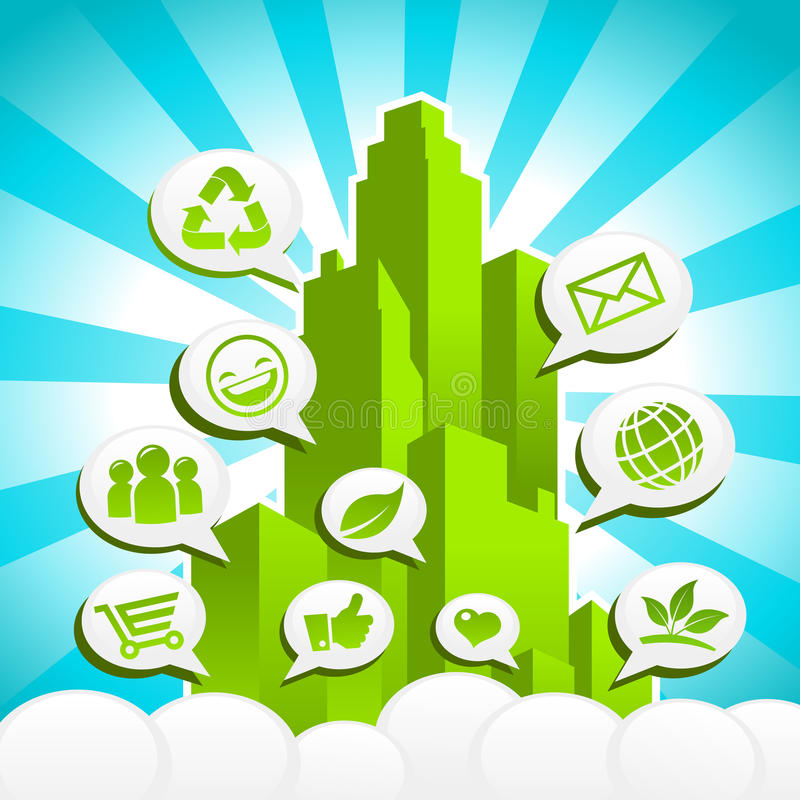 Download Green Eco City stock vector. Image of city, ecology, burst - 26624192