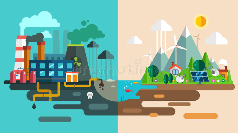 Green eco city die ecology concept. New energy vector illustration