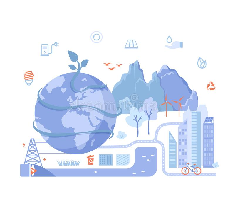 Green eco city and planet ecology conservation concept and ideas, Saving the earth with Solar energy panels, wind turbines renewab stock illustration