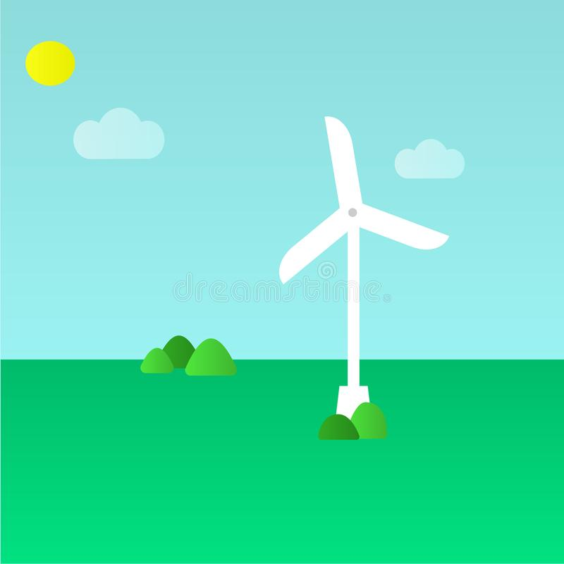 Green eco concept - wind energy. Wind generator - vector illustration. Alternative power energy technology. vector illustration