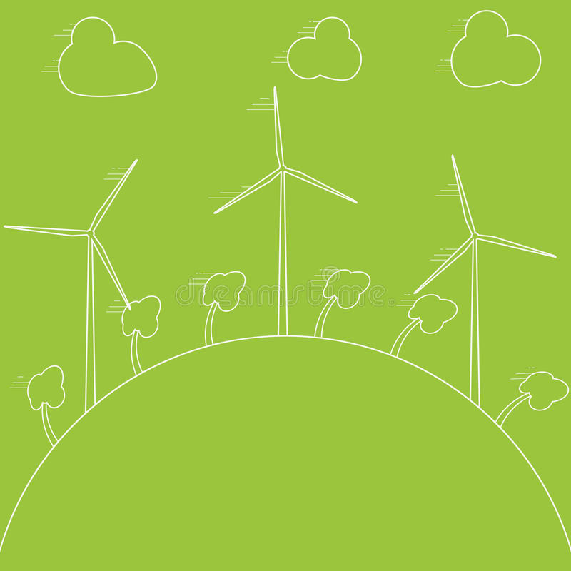 Green eco concept - wind energy. Wind generators, illustration. Alternative power energy technology. royalty free illustration