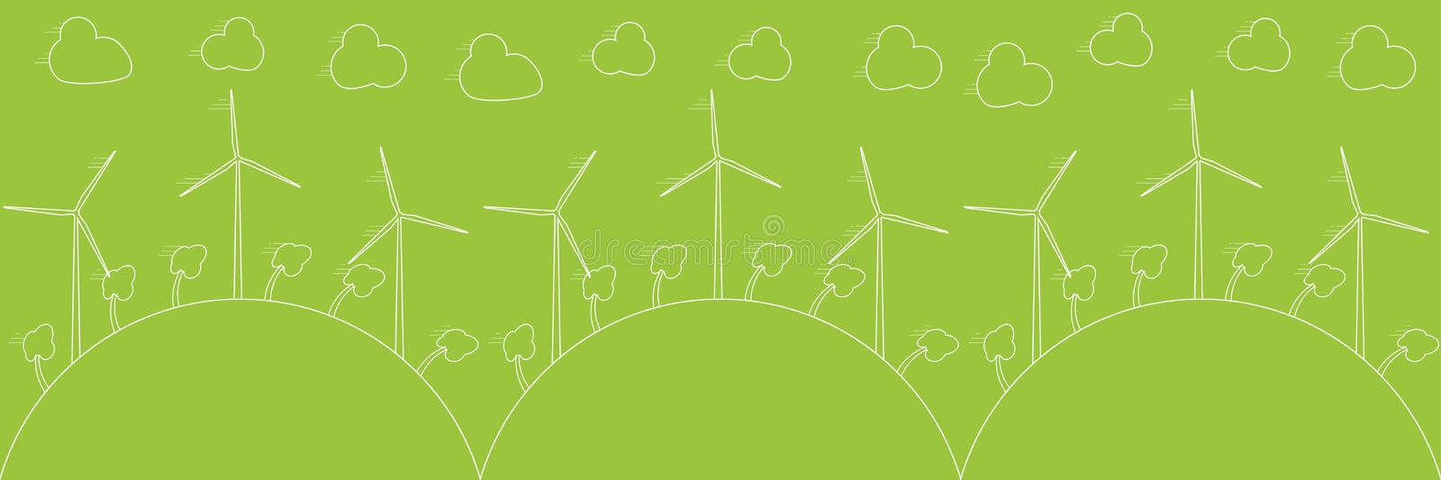 Green eco concept - wind energy. Wind generators, vector illustration. Alternative power energy technology. vector illustration