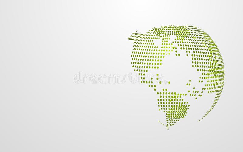 Green Eco earth abstract global dot map on white grey background. Modern design wallpaper presentation template. Vector. Illustration graphic. Earth day concept stock illustration