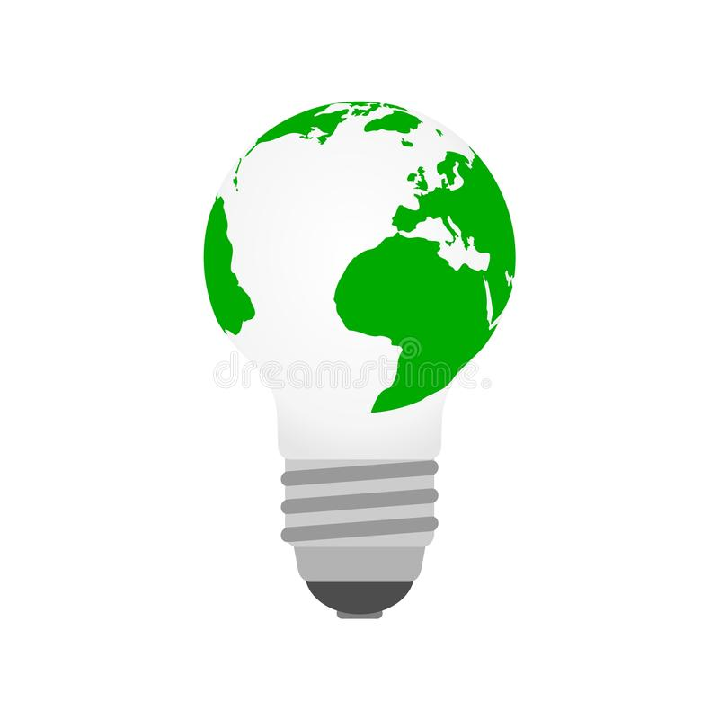 Green and eco earth with lightbulb. Vector icon stock illustration