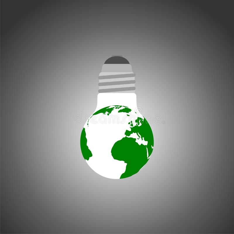Green and eco earth with lightbulb. Vector icon royalty free illustration