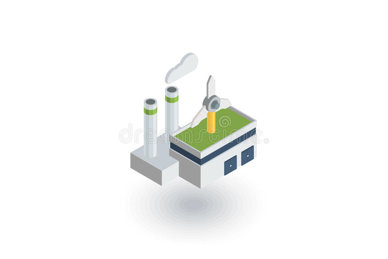 Green eco factory building, manufacture whith wind turbines isometric flat icon. 3d vector. Colorful illustration. Pictogram on white background vector illustration