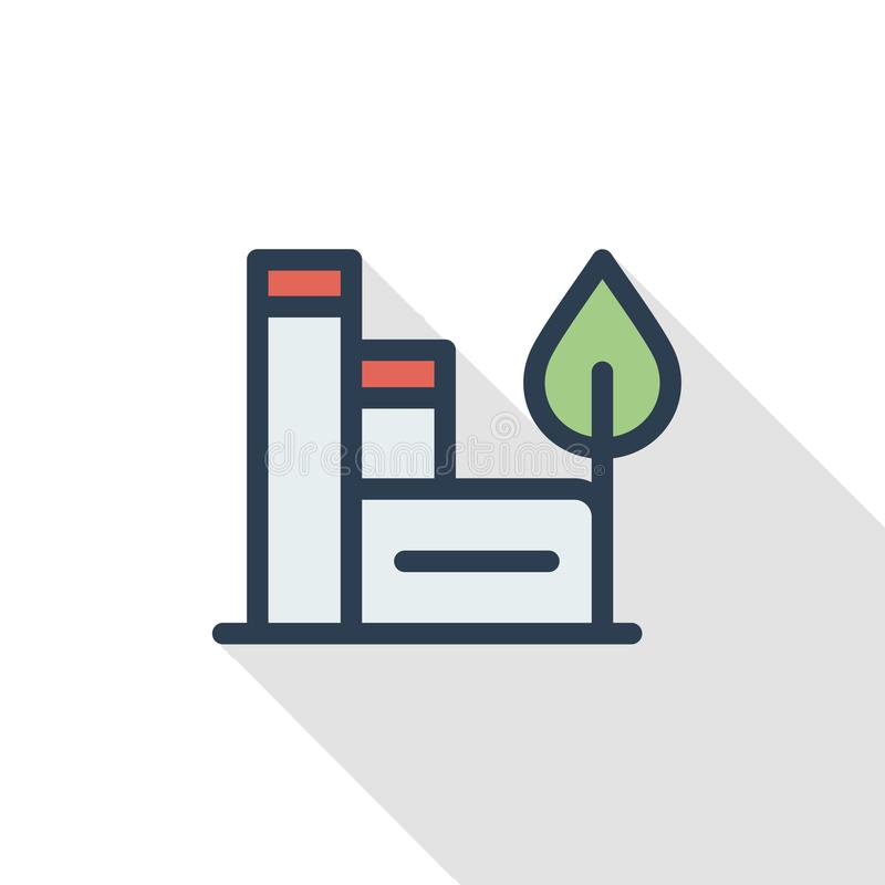Green eco factory building, manufacture whith wind turbines thin line flat color icon. Linear vector symbol. Colorful royalty free illustration