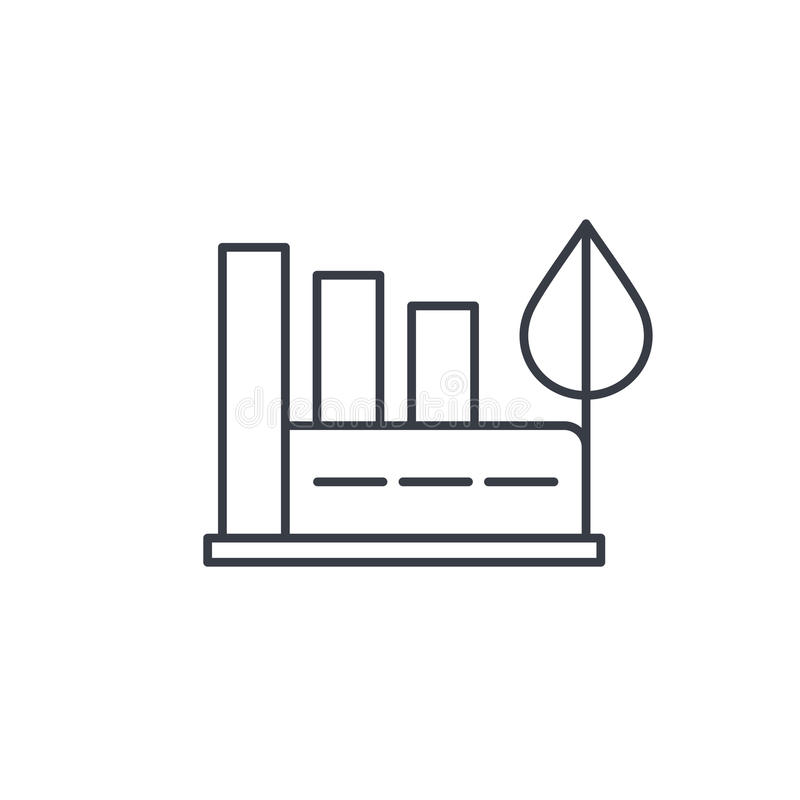 Green eco factory building, manufacture whith wind turbines thin line icon. Linear vector symbol royalty free illustration