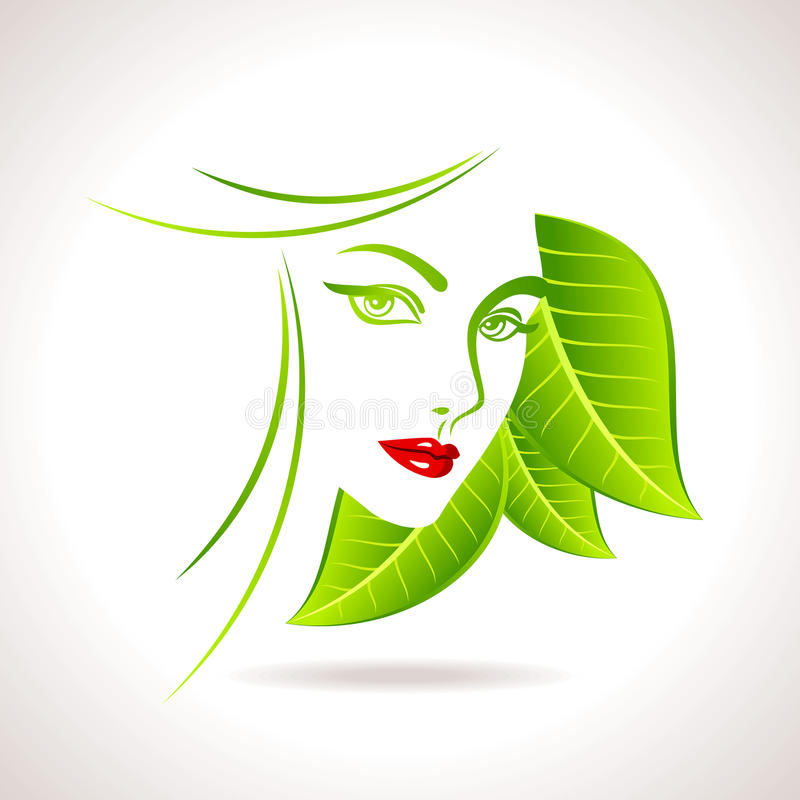 Green eco friendly icon with women face vector illustration