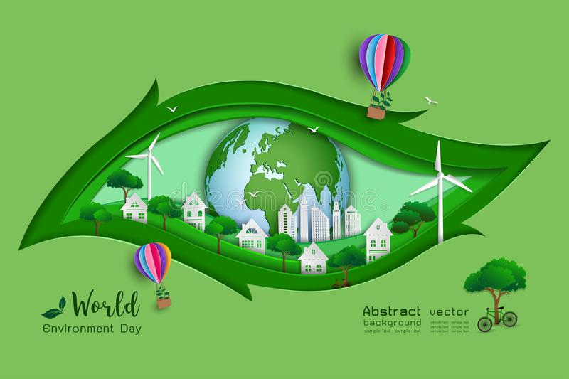 Green eco friendly save the world and environment concept,paper art and craft design with leaf shape royalty free illustration